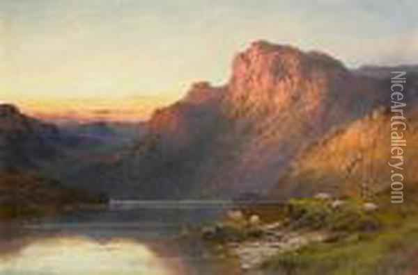 A Sutherlandshire Lake At Sunset; Loch Shin, Sutherlandshire Oil Painting - Alfred de Breanski