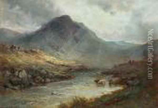 The Valley Of The Turk; The Valley Of The Leney Oil Painting - Alfred de Breanski