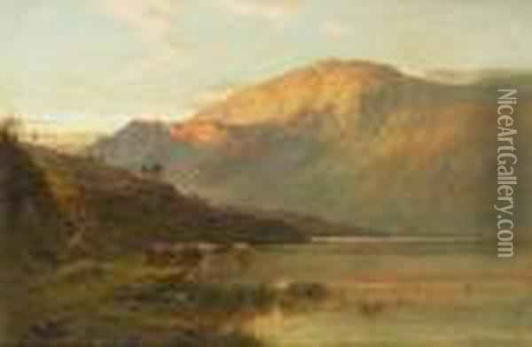 Loch Awe From Brander Pass, Nb Oil Painting - Alfred de Breanski
