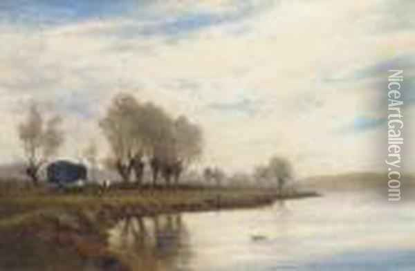 A Misty Morning On The Tow Path At Shepperton Oil Painting - Alfred de Breanski