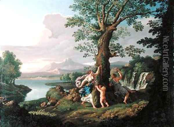 River Landscape with a Nymph Plucking a Branch from a Bleeding Tree Oil Painting - Andrea Locatelli