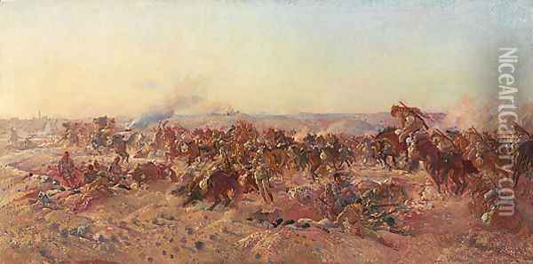 The charge of the Australian Light Horse at Beersheba, 31 October 1917 Oil Painting - George Lambert