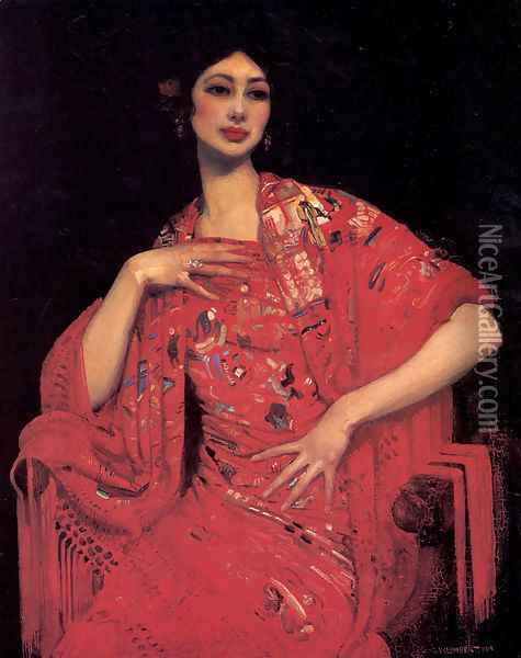 The Red Shawl Oil Painting - George Lambert