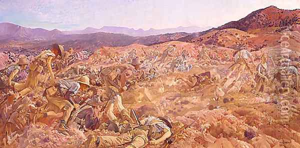 The charge of the 3rd Light Horse Brigade at the Nek, 7 August 1915 Oil Painting - George Lambert