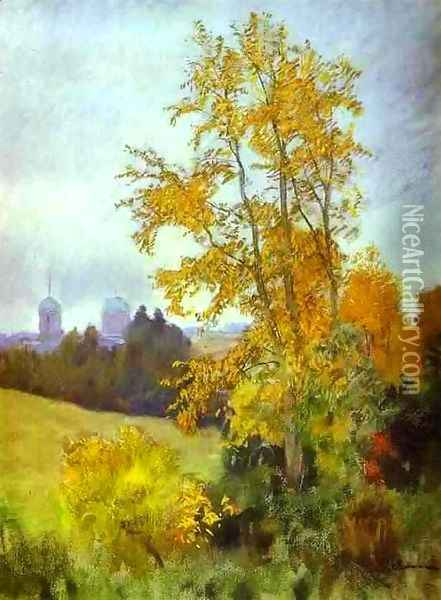 Autumn Landscape with a Church 1890 1899 Oil Painting - Isaak Ilyich Levitan