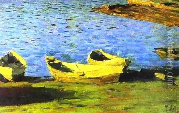 By the Riverside 1890 1899 Oil Painting - Isaak Ilyich Levitan
