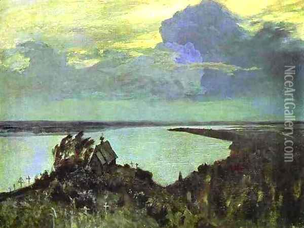 Above the Eternal Peace Study 1894 Oil Painting - Isaak Ilyich Levitan