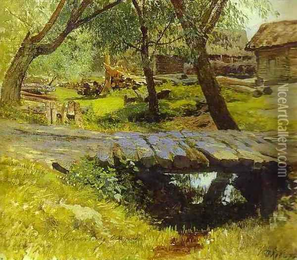 Footbridge Savvina Sloboda Study 1884 Oil Painting - Isaak Ilyich Levitan