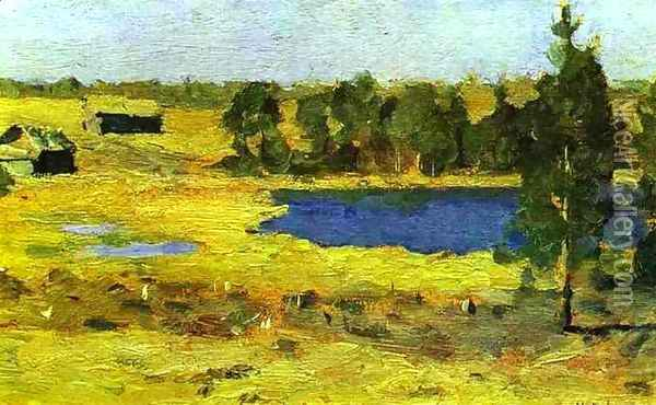 The Lake Barns at the Edge of a Forest 1898 1899 Oil Painting - Isaak Ilyich Levitan