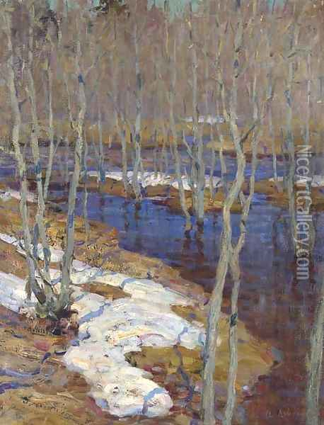 The thaw Oil Painting - Isaak Ilyich Levitan