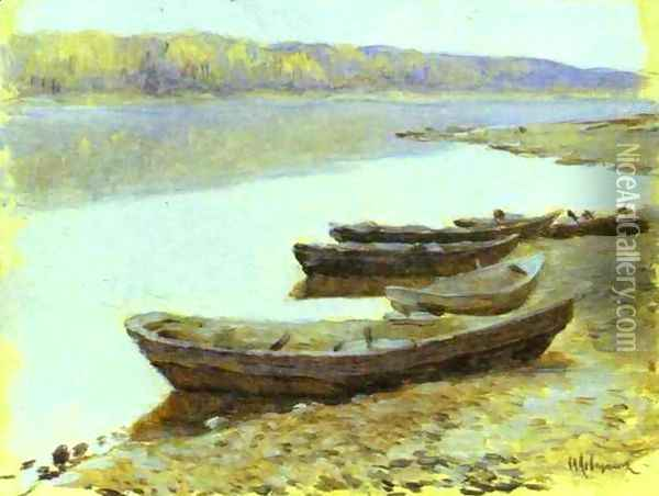 Landscape on the Volga Boats by the Riverbank Oil Painting - Isaak Ilyich Levitan