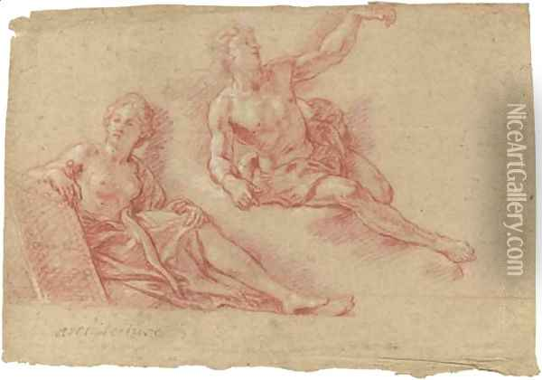 A reclining allegorical figure of Architecture with a reclining nude lifting his arm Oil Painting - Charles de La Fosse