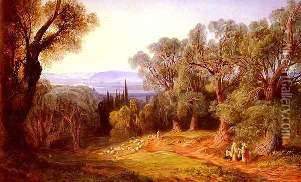 Corfu and the Albanian Mountains Oil Painting - Edward Lear