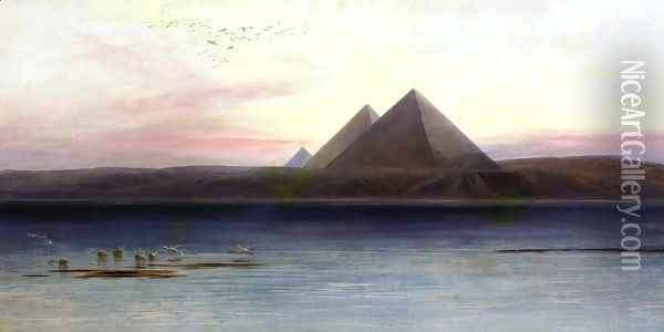The Pyramids of Ghizeh Oil Painting - Edward Lear