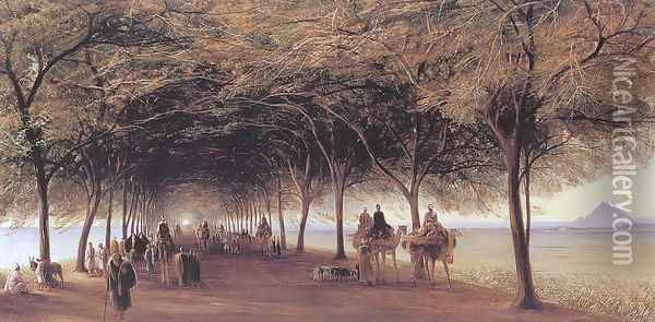 The Pyramids Road, Ghizeh 1873 Oil Painting - Edward Lear