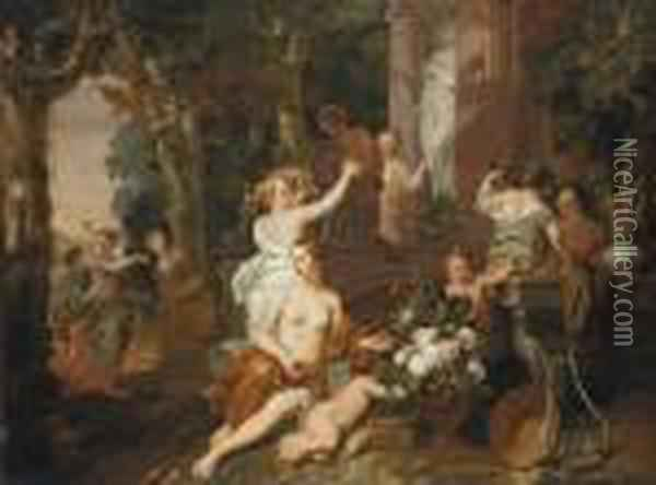 Nymphs And Bacchantes Paying Homage At The Temple Of Flora Oil Painting - Gerard de Lairesse