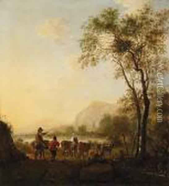 Sherherds With Their Cattle In A Vast River Landscape Oil Painting - Frederick De Moucheron