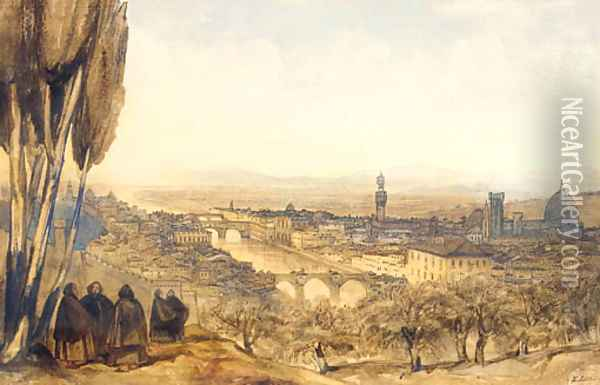 View of Florence from the Basilico, San Miniato al Monte, Monte Cruce Oil Painting - Edward Lear