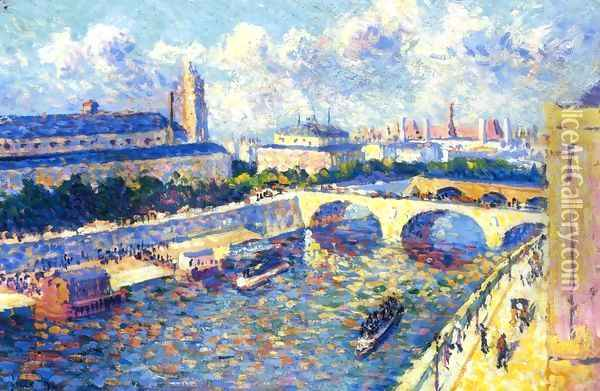 Paris, the Seine and the Quai de la Megisserie viewed from the Quai de Horloge Oil Painting - Maximilien Luce