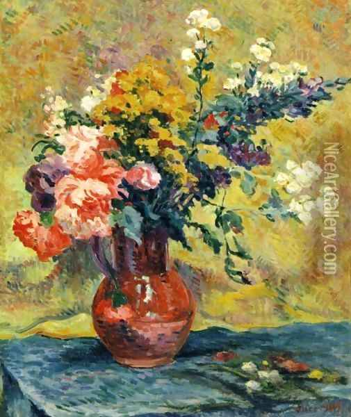 Bouquet of Flowers in a Vase Oil Painting - Maximilien Luce