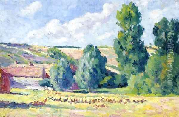 A Farm in Ezeaux Oil Painting - Maximilien Luce