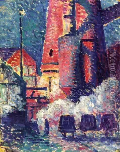 Tall Furnaces Oil Painting - Maximilien Luce