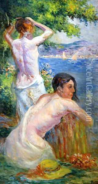 Saint Tropez, Two Woman by the Gulf Oil Painting - Maximilien Luce