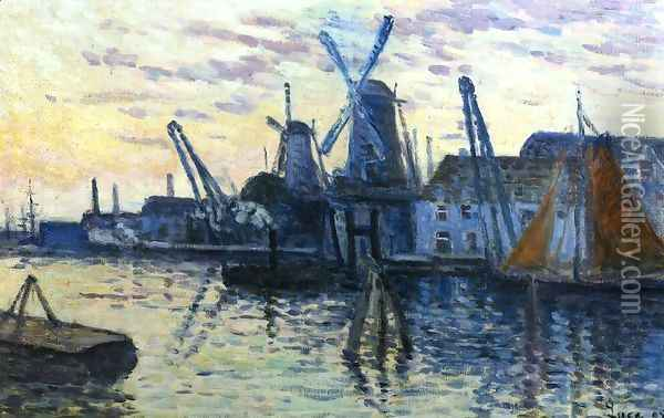 Mills in Holland Oil Painting - Maximilien Luce