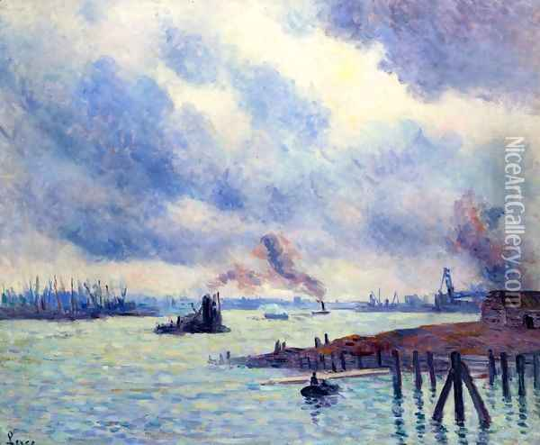 The Port of Rotterdam Oil Painting - Maximilien Luce