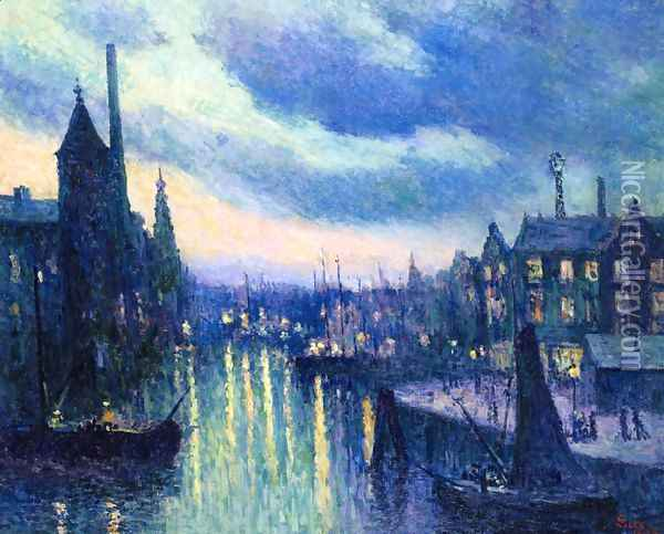 The Port of Rotterdam, Evening Oil Painting - Maximilien Luce