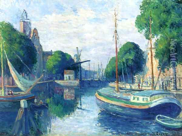 Barges on a Canal at Rotterdam Oil Painting - Maximilien Luce