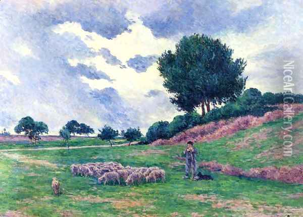 Mereville, a Herd of Sheep Oil Painting - Maximilien Luce