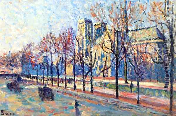 Notre-Dame, View from the Quay Montebello Oil Painting - Maximilien Luce