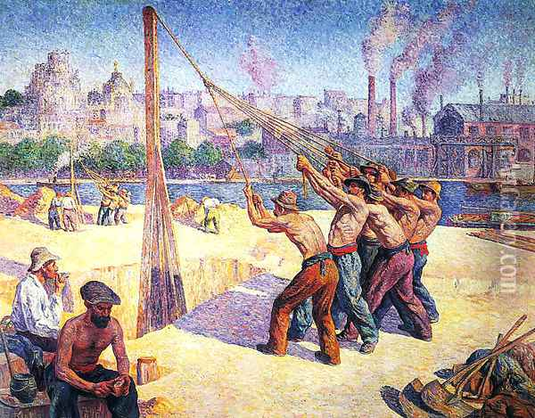 The Pile Drivers, Quai de la Seine at Billancourt Oil Painting - Maximilien Luce
