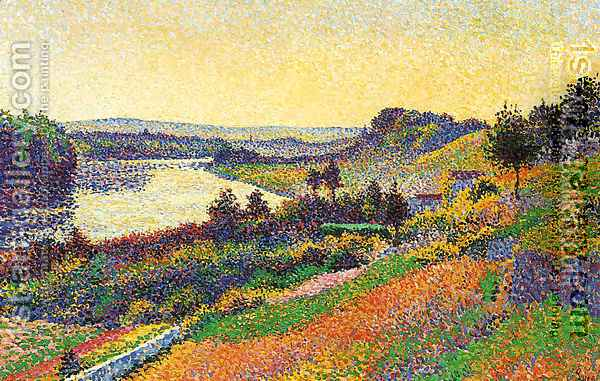 The Seine at Herblay Oil Painting - Maximilien Luce