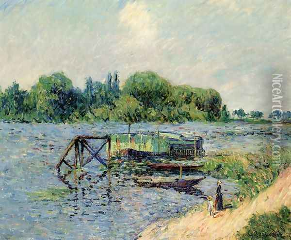 Laundry on the Seine at Herblay Oil Painting - Gustave Loiseau