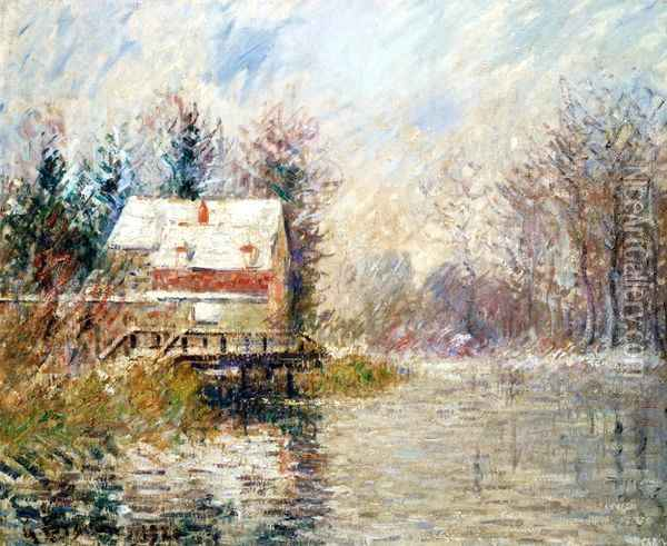 House by the Water, Snow Effect Oil Painting - Gustave Loiseau