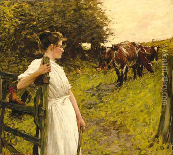 Back from the Common, Heyshott, West Sussex Oil Painting - Henry Herbert La Thangue
