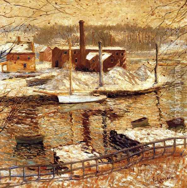 River Scene in Winter Oil Painting - Ernest Lawson