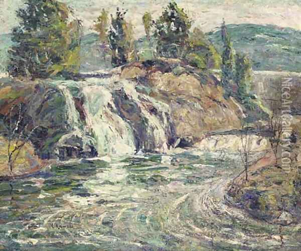 Waterfall Oil Painting - Ernest Lawson