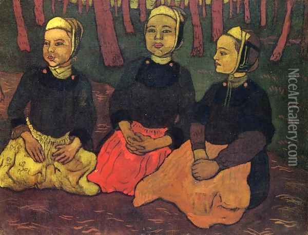 Three Breton Women in the Forest Oil Painting - Georges Lacombe