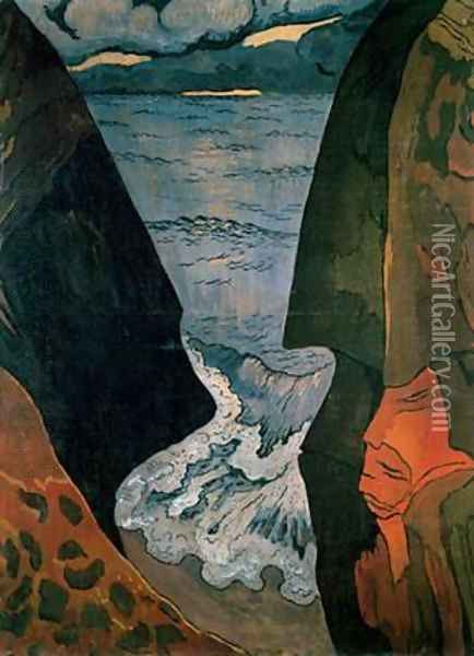 Cliffs near Camaret Oil Painting - Georges Lacombe