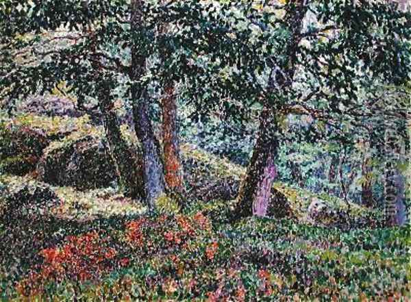 Oaks and Blueberry Bushes Oil Painting - Georges Lacombe