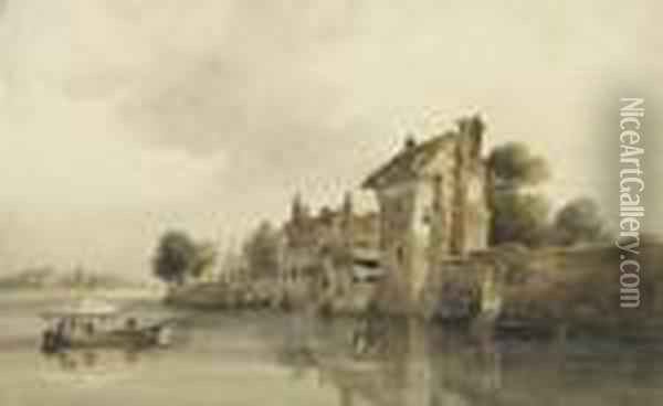 On The River Wensum, Norwich Oil Painting - Peter de Wint