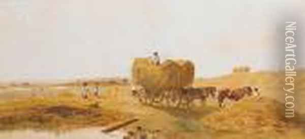 Loading Hay Near Lincoln Oil Painting - Peter de Wint