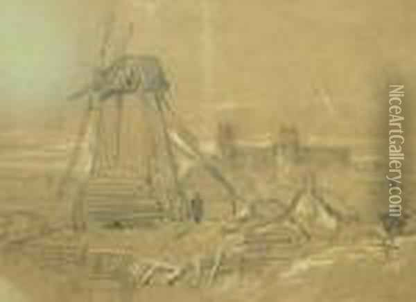 Study Of A Windmill With A  Castle In The Distance; Pencil And Coloured Chalk On Buff Paper Oil Painting - Peter de Wint