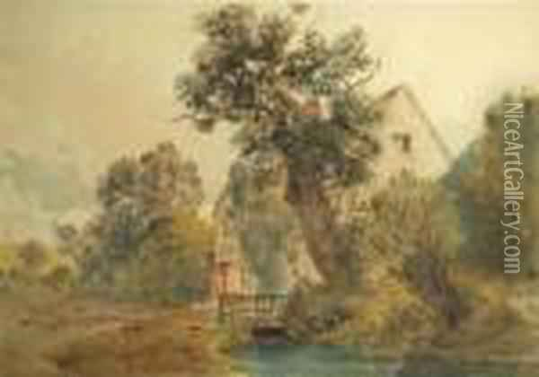 A Building By A Tree With A Stream To The Foreground Oil Painting - Peter de Wint