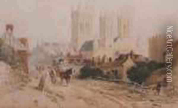 Lincoln Cathedral Oil Painting - Peter de Wint