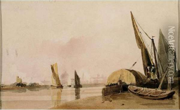 Boats On The Thames Oil Painting - Peter de Wint