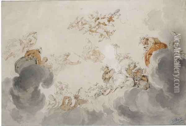 Ceiling Design With Bacchantes And Nymphs Among Clouds Oil Painting - Jacob de Wit